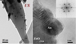 TEM (left) and HRTEM (right) images of Au nanoparticles deposited by US on ZnO