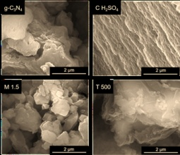SEM images of bulk g-C3N4 and materials obtained after chemical, mechanical or thermal post-treatments