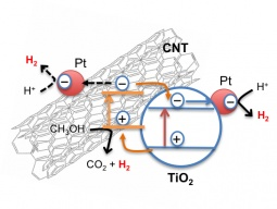 Mechanism of photocatalytic H2 generation from water/methanol using Pt/(CNT-TiO2) catalysts