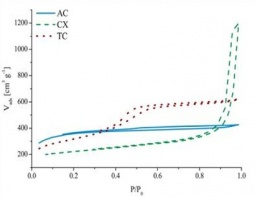 N2 adsorption isotherms of an activated carbon (AC), a carbon xerogel (CX) and a templated carbon (TC)
