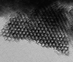 TEM micrograph of an ordered mesoporous carbon synthesized by sol-gel processing