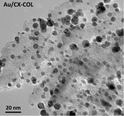 HRTEM image of Au nanoparticles (as dark spots) on carbon xerogels prepared by the colloidal method