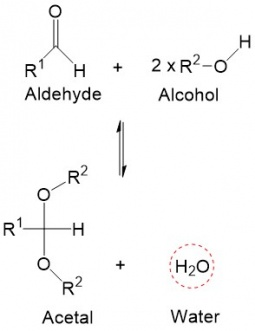 Acid catalyzed liquid phase acetalization reaction