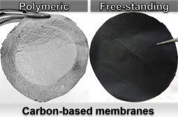 Carbon-based membranes with flat-sheet geometry.